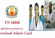 TN MRB Hall Ticket 2019