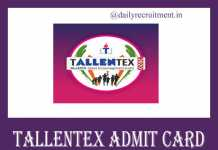 TALLENTEX Admit Card 2019