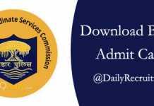 BSSC Admit Card 2019