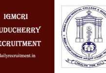 IGMCRI Puducherry Recruitment 2019