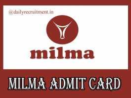 MILMA Admit Card 2019