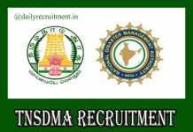 TNSDMA Recruitment 2019