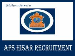 APS Hisar Recruitment 2020