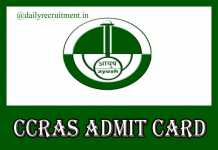 CCRAS Admit Card 2019