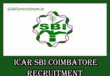 ICAR SBI Coimbatore Recruitment 2019