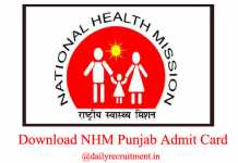NHM Punjab CHO Admit Card 2019