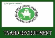 TNAHD Tiruvannamalai Recruitment 2020