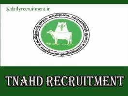 TNAHD Tiruvannamalai Recruitment 2020