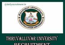 Thiruvalluvar University Recruitment 2019