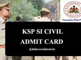 KSP SI Civil Admit Card 2020
