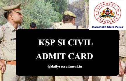KSP SI Civil Admit Card 2020