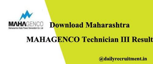 MAHAGENCO Technician III Result 2020