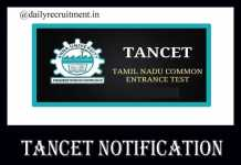 TANCET 2020 Notification