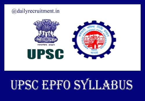 UPSC EPFO Syllabus 2020