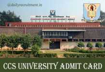 CCS University Admit Card 2020