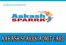 AAKASH Sparrk Admit Card 2020