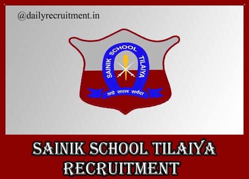 Sainik School Tilaiya Recruitment 2020