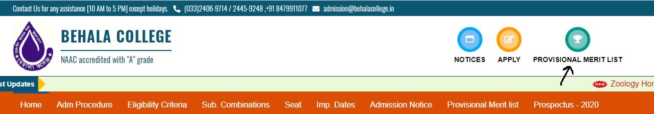 Behala College Merit List 2020