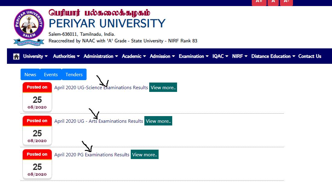 Periyar University Result 2020
