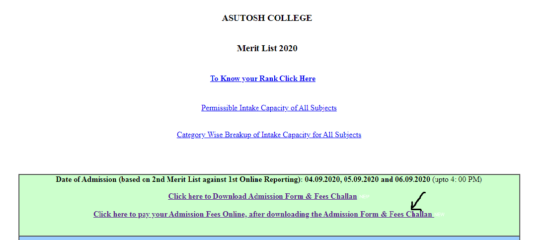 Asutosh College 2nd Merit List 2020