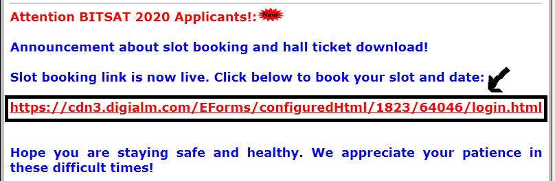 BITSAT 2020 Admit Card