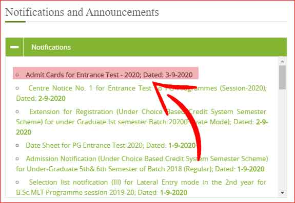 Kashmir University Admit Card 2020