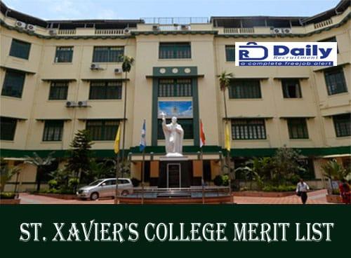 St. Xavier's College Merit List 2020