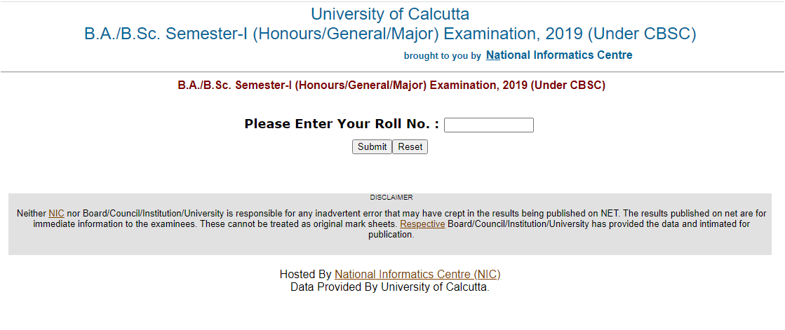 Calcutta University Result 2020