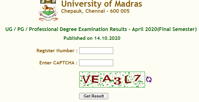 Madras University April Result 2020