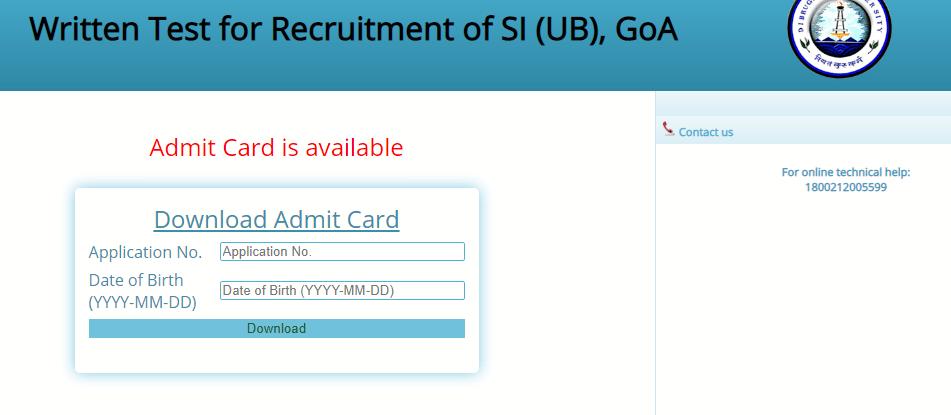 Assam POLICE SI Admit Card 2020