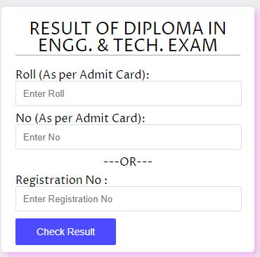 WBSCTE Diploma 6th Sem Result 2020