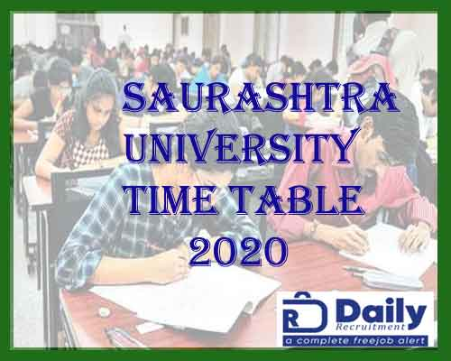 Saurashtra University Exam Time Table 2020