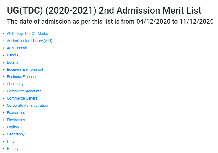 BRABU UG ADMSIION 2ND MERIT LIST 2020