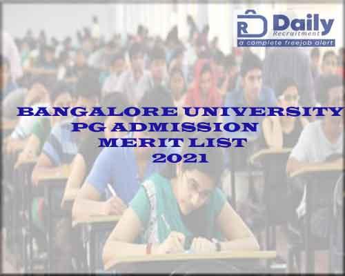 Bangalore University PG Admission Merit List 2021