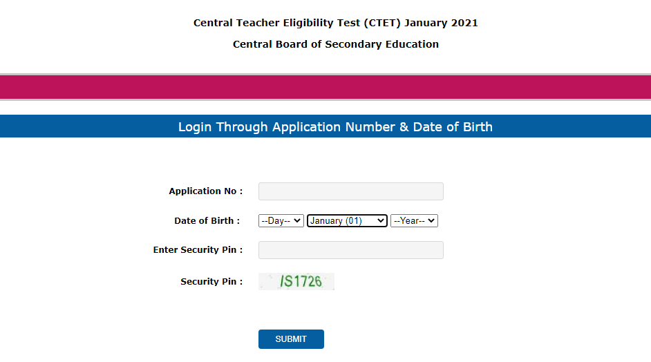 CTET JANUARY ADMIT CARD 2021