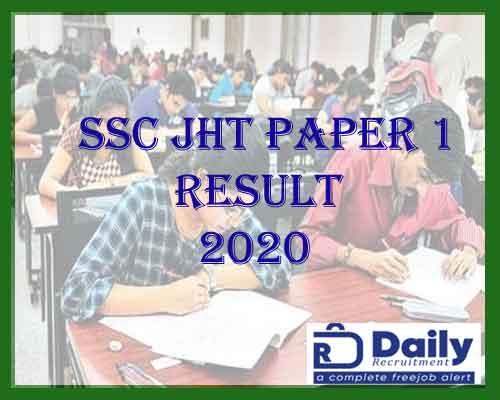 ssc jht paper 1 result 2020