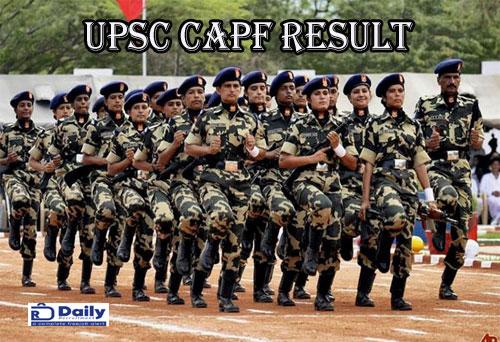 UPSC CAPF AC Final Result 2019