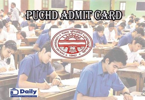 UG Exam PUCHD Admit Card 2021