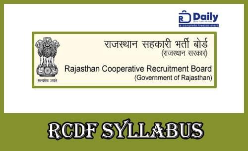 Rajasthan Dairy RCDF Syllabus 2021
