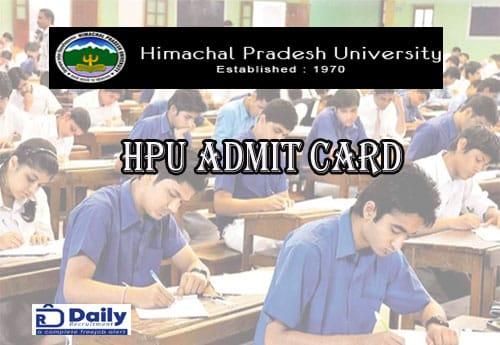 HPU PG Admit Card 2021