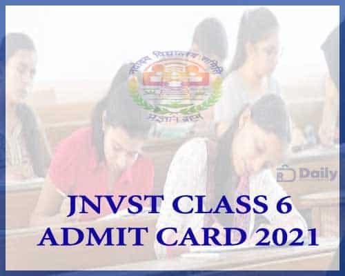 JNVST Class 6 Admit Card 2021