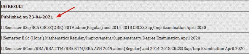 Kannur University Sem 2 Result 2021